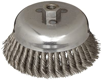 "Weiler Wire Cup Brush, Threaded Hole, Steel, Partial Twist Knotted, Single Row, 6"" Diameter, 0.023"" Wire Diameter, 5/8""-11 Arbor, 1-5/8"" Bristle Length, 6000 rpm (Pack of 1)"