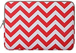 Mosiso Laptop Sleeve, Canvas Fabric Sleeve Case Bag Cover for 12.9 iPad Pro / 13.3 Inch Laptop / Notebook Computer / MacBook Air / MacBook Pro, Chevron Red
