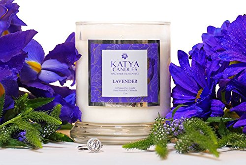 All Natural Soy Lavender Katya Candle With a Beautiful Ring (Size 6) Inside Each Candle Featuring Swarovski Crystals (Crystal Candle Ring compare prices)