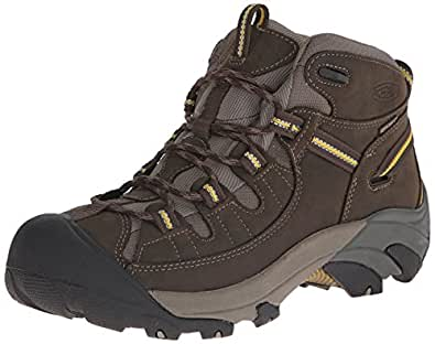 KEEN Men's Targhee II Mid Waterproof Hiking Boot,Black Olive/Yellow,7 M US