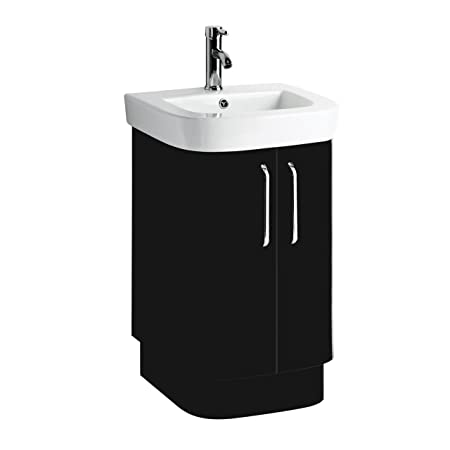 Seattle Basin And Under Sink Cabinet Set With Black High Gloss Cabinet & White Ceramic Basin.