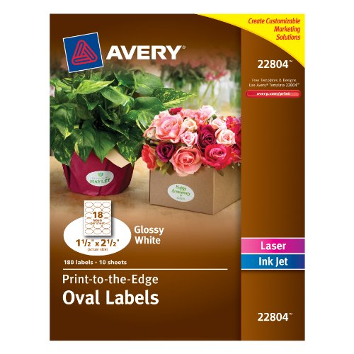 Avery Easy Peel Print-To-The-Edge Permanent Labels, Oval, Laser/InkJet, 1.5 x 2.5-Inches, Glossy White, Pack of 180 (22804)