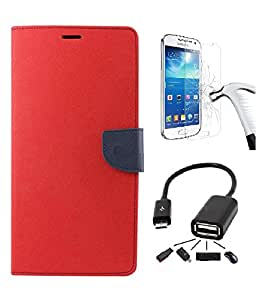 DENICELL Royal Dairy Style Flip Cover For HTC 626 (CANDY RED,OTG,TEMPERED)