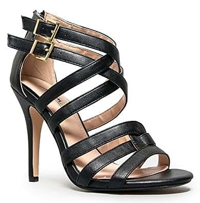 ENZO-61 Strappy High Heel Sandal, Black CRP, 7.5 M US