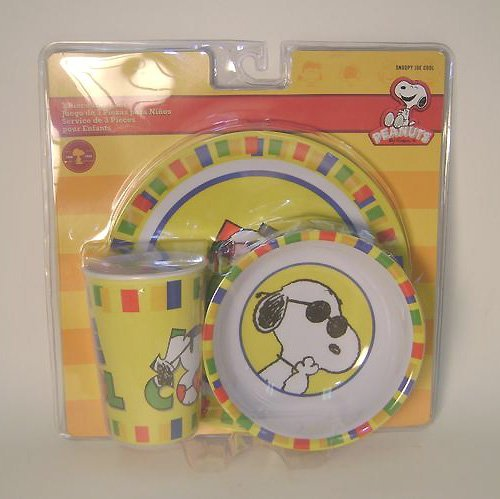 3 Piece Snoopy Joe Cool Plastic Dish Set Includes Cup, Bowl and Plate - 1