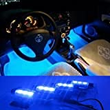 docooler 4*3 LED 12V Car Auto Interior Atmosphere Lights Decoration Lamp Blue thumbnail