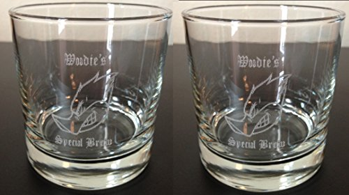 2 Custom Engraved / Etched Old Fashioned Whiskey Rocks Glasses Set (Personalized Rocks Glasses compare prices)