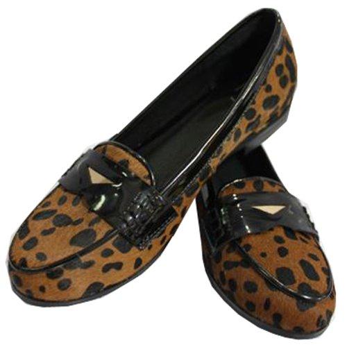 Moonar Women Lady Synthetic Suede Leopard Print Flattie Ballet Flat Boat Shoes Slip On Casual