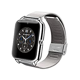 Newsunshine Silver Z50 Smart Watch Phone Bluetooth GSM NFC G-sensor Camera 1 SIM Card Pedometer Sedentary Reminder Call SMS Sync For iPhone 5,6,6S Samsung Galaxy S5 S6 Edge Note 4,5