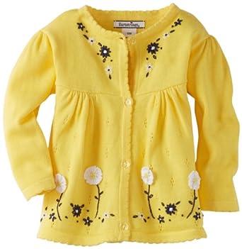 Hartstrings Baby-Girls Infant Cotton Long Sleeve Cardigan Sweater w/Crochet, Lemon Glass, 12 Months