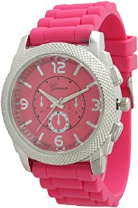 Large Unisex Geneva Chronograph Style Silicone Watch - Hot Pink/Silver
