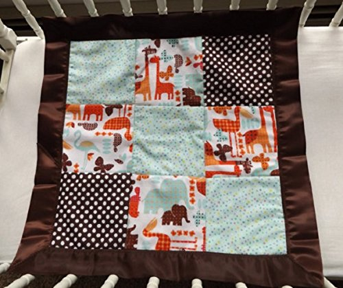 Jungle Safari Flannel Patchwork and Satin Toddler Quilt with Satin Binding, Security Blanket - Lovey - Carseat, Stroller, Travel Soother