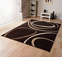 Patina Brown Cream Designer Large Modern Rug 120cmx170cm