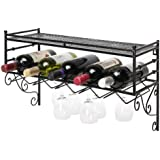 Wall Mounting Classical French Style Wine Bottle and Wine Glass Storage Organizer Rack with Top Shelf by MyGift
