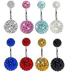 buy Surker Rhinestone Crystal Ball Navel Belly Ring Eye Brow Nail Earrings Stainless Steel Body Piercing