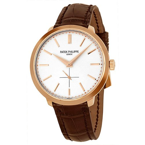 Patek Philippe Calatrava Silver Dial 18k Rose Gold Brown Leather Mens Watch 5123R-001