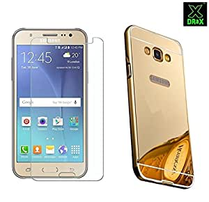 Samsung Galaxy J1 Ace Golden Mirror Metal Bumper Back Cover with Tempered Glass (Mirror Bumper + Tempered Glass) COMBO by DRaX®