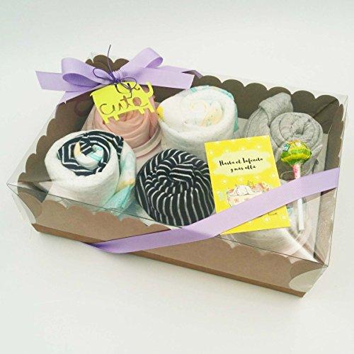 Scatola di Cupcakes fatti con: Body, Cappellino, Calzini per Neonato (1-6 mesi, tutto è di marca e in cotone), Salviettina in Bambú Riutilizzabile e Pannolini DODOT | Baby Shower Gift Idea | Idea Regalo Originale e Personalizzabile | Versione Unisex