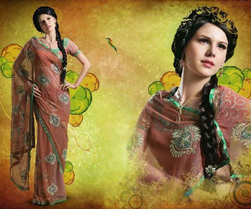 Nanda Deluxe Bridal Embroidered Party wear contemporary georgette banarsi sari fabric / saree / wrap