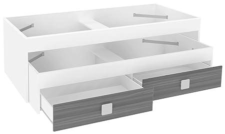 Lit double avec 2 tiroirs Blanc/Gris foncé 2040 x 1000 x 680 mm -PEGANE-