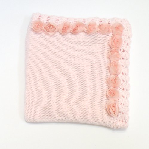 knitted-pink-cotton-infant-girls-large-blanket-hand-crochet-trim-and-chiffon-roses-