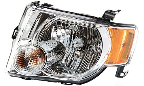 Evan-Fischer EVA13572017148 New Direct Fit Headlight Head Lamp CAPA Certified Clear Lens Chrome Interior Halogen With Bulb(s) Without wiring harness Replaces OE# 8L8Z13008B & Partslink# FO2502229C Driver Side (2008 Escape Headlight Assembly compare prices)