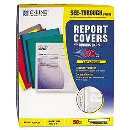 Report Cover,White Binding Bar,Plastic,Ltr,20 Shts,50/BX,CL, Sold as 1 Box, 50 Each per Box