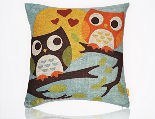 Ojia Owls Series 18 X 18 Inch Cotton Linen Home Decorative Throw Pillow Cover Cushion Case (The Owl Lovers)