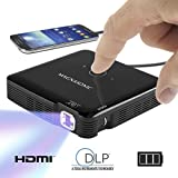 Magnasonic Mini Portable Pico Video Projector, HDMI, Rechargeable Battery, Built-In Speakers, DLP, Vibrant 100 Lumen Brightness for Mobile Movies, Presentations, Gaming, Smartphones, Tablets, Laptops (PP71)