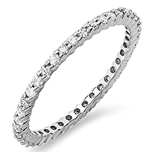 0.55 Carat (ctw) Dainty 1.5 mm 14k White Gold Round Diamond Ladies Eternity Anniversary Stackable Ring Wedding Band 1/2 CT (Size 5)