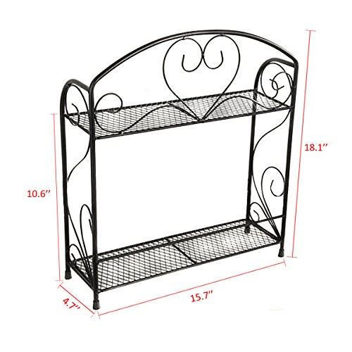 Countertop Spice Stand Holder Jars Storage Organizer Shelf Rack (Black ...