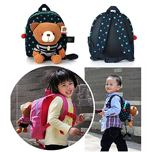 Eonkoo Cute Bear Plush Backpack school Book Bag Shoulder Bags for Baby kids Gift,Lightweight Personalized Zoo Handbag with Adjustable Strap Canvas Satchel for Children Girls Knapsack