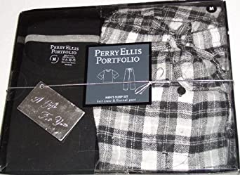 Perry Ellis Portfolio Men's Sleep Set Black/grey Size Medium