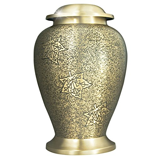 Funeral Urn by Meilinxu- Cremation Urns for Human Ashes Adult and Memorial- Hand Engraved in Brass- Burial Urns At Home or in Niche at Columbarium (Golden Avondale Falling Leaves, Large Keepsake Urn (Cremation Box Urns compare prices)