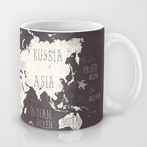 "QoiueoF mappa del mondo "", stile Vintage, motivo: tazze da tè, 28 g"