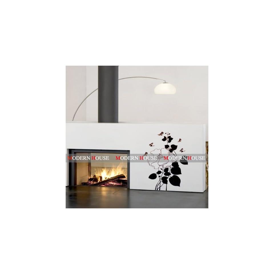 Modern House Black Rose removable Vinyl Mural Art Wall Sticker Decal