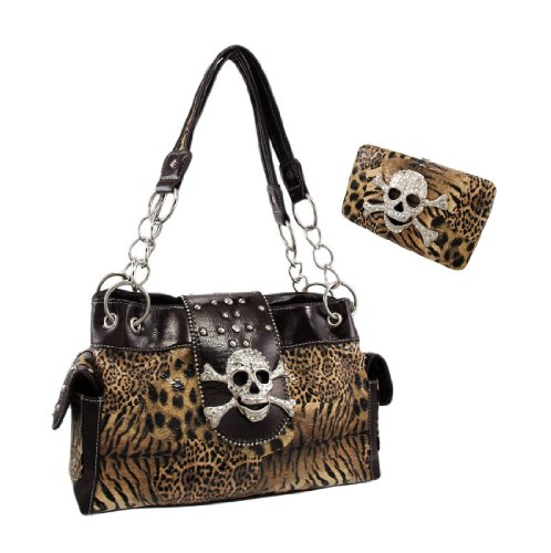 Animal Print Rhinestone Skull Handbag / Wallet Set Brown Trim
