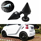 iJDMTOY (2) Satin Black Finish Front or Rear Bumper Protector Spikes Guards For Smart Car All Models