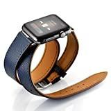 Maxjoy for Apple Watch Band, Genuine Leather Watchband 38mm iWatch Loop Strap with Metal Clasp Adapters Replacement Bracelet for Apple Watch Series 3, 2, 1 Sport Edition, Double Tour Cuff (Dark Blue)