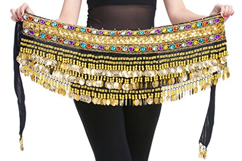 150cm Profession Black Flannel Belly Dance Hip Scarf with Gold Coins Colorful Gem Belt