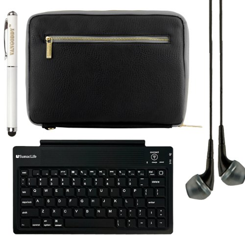 Vg Irista Eco Leather Carrying Sleeve For Nokia Lumia 2520 4G Lte 10.1 Inch Tablet + Bluetooth Keyboard + Vangoddy 3 In 1 Stylus Pen + Black Vg Headphones (Black & Grey)