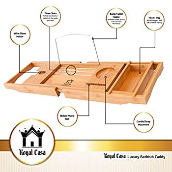 Royal Casa Luxury Bamboo Bathtub Caddy, Wooden Shower Bath Tub Organizer, Stainless Steel BookTablet Holder, Removable TowelAccessories Tray