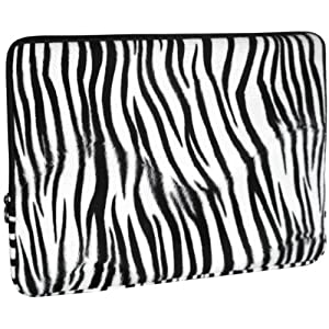 Zebra Faux-fur 15-Inch Notebook Laptop Sleeve Carrying Case
