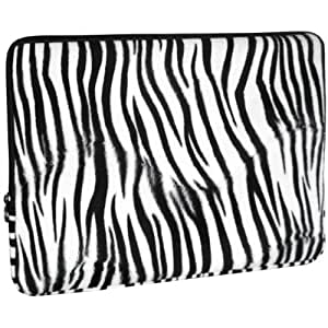 Zebra Faux-fur 15-Inch Notebook Laptop Sleeve Carrying Case