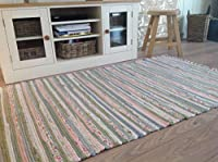 Pastel Rag Rug 120cm x 180cm Indian Pale Light Multi Colours Recycled Cotton (Second Nature Exclusive) by Second Nature Online