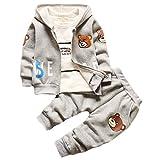 エフティーゾーン(Ftzone)3in1子供服ベビーの女の赤ちゃん男の赤ちゃんの柔らかい綿の上着+上下セット暖かい長袖Tシャツ+ロングパンツセット秋冬防寒保温 (6-12ヶ月, グレー)