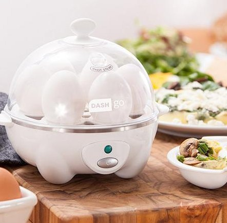 Appliances-Egg Cooker-DASH Go Rapid Egg Cooker In White-Healthy Cooking-Eggs- It boils up to six eggs at a time! (Dash Hard Boiled Egg Cooker compare prices)