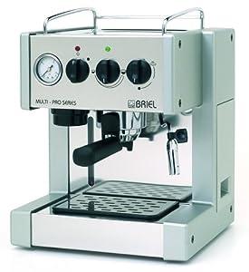 Briel ES200APG-TB Multi-Pro One Group Thermo Block Espresso Machine with Auto Espresso Flow, Steel/Silver