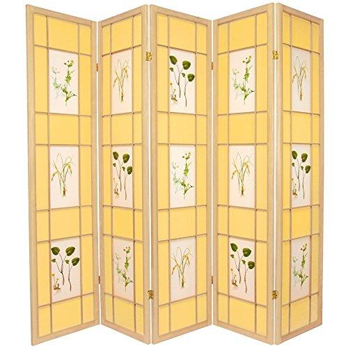 Oriental furniture 6 ft tall herbal floral shoji screen 5 panel natural room divider - Opaque room divider ...