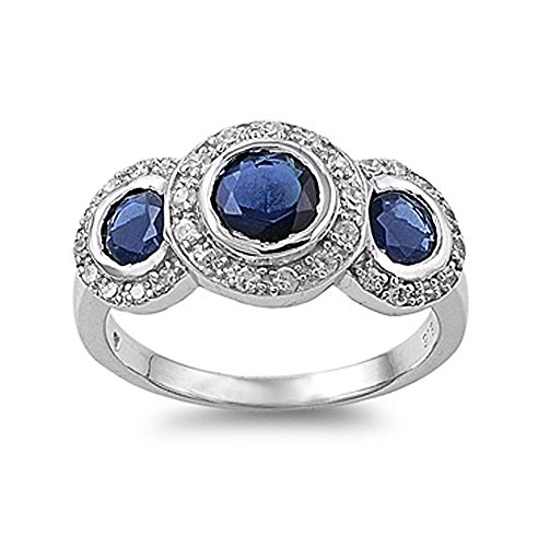 Sterling Silver Three Stone Antique Style Blue Sapphire Cubic Zirconia Ring - Size 6